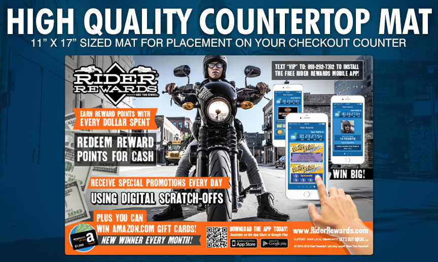 Vinyl Countertop Sticker - QR code for fast app download; display your point scale; advertise your rider reward program