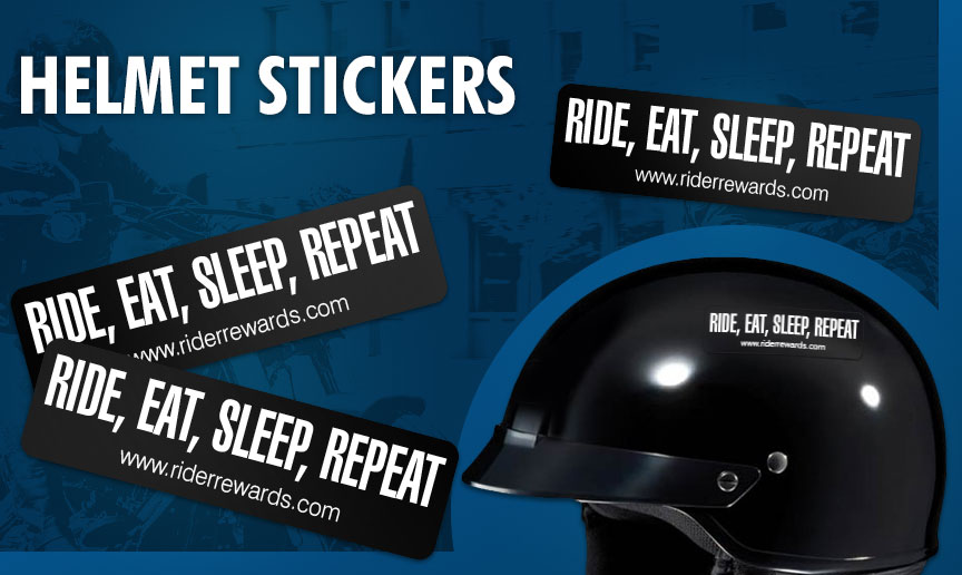 Ride, eat, sleep, repeat Helmet Stickers