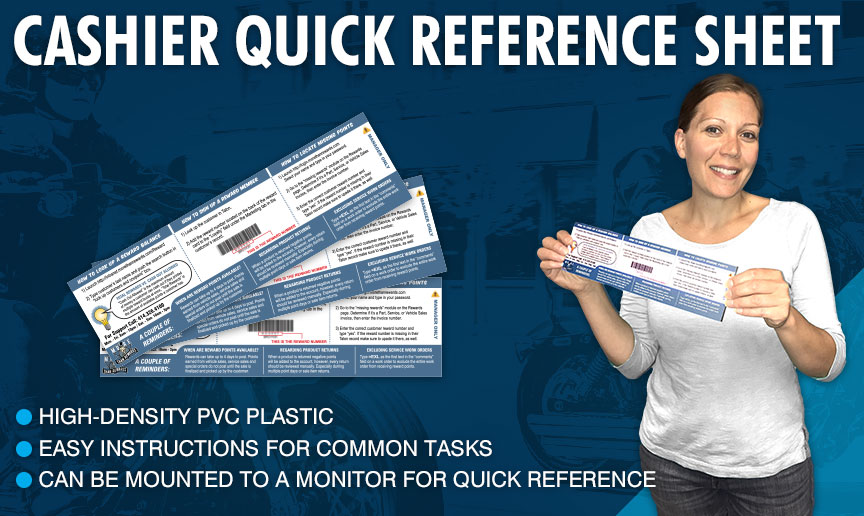 Cashier Quick Reference Sheet - Friendly reminders for common task