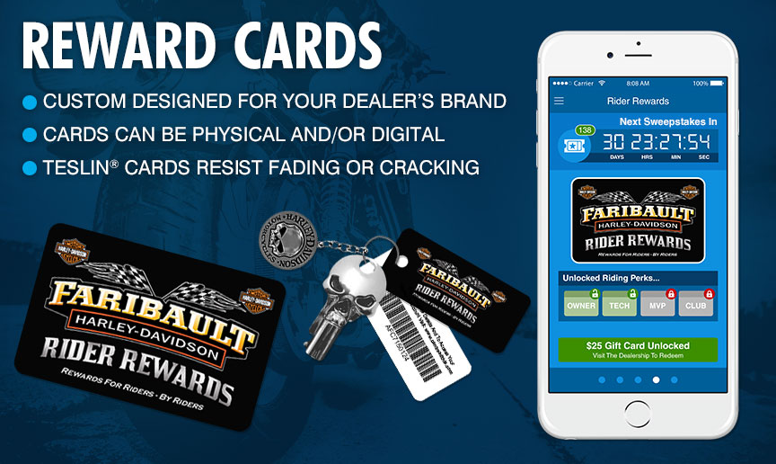 Rewards Cards - Custom designed card just for your dealership; Cards can be printed and/or digital